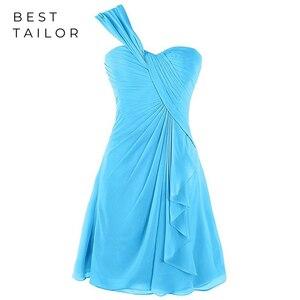 Бирюзовые платья подружки невесты, платье подружки невесты на одно плечо, короткое голубое платье, платье невесты