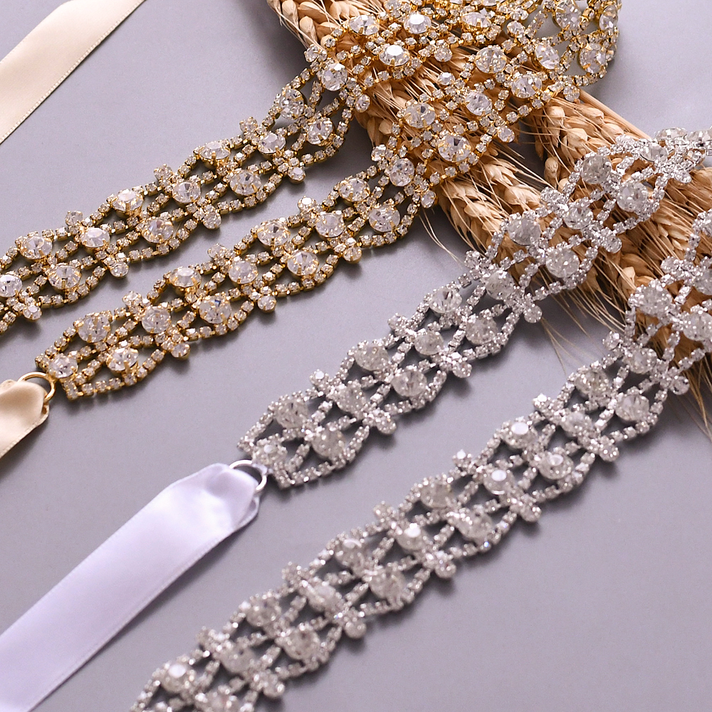 TRiXY S414 Golden Silver Rhinestone Wedding Dress Belt Handmade Crystal Wedding Belts Bridal Ribbon Sash Belt Diamond Belt