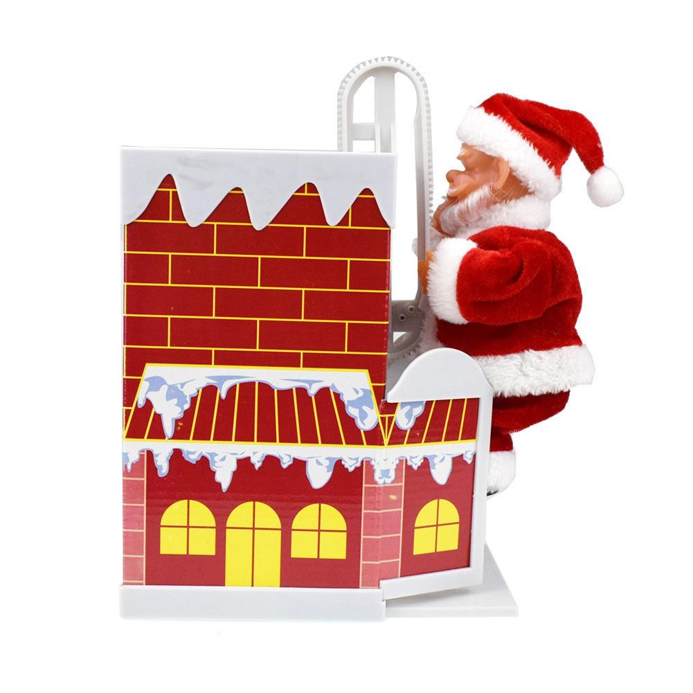 Electric Santa Claus Climbing Chimney Music Doll Kids Christmas Gift Table Decor
