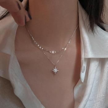 Women Star Moon Double Necklace Jewelry 925 Silver Jewelry