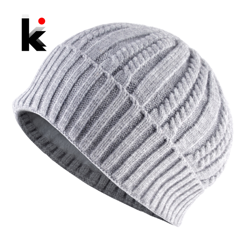 Woman Winter Hats Wool Solid Fashion Winter Knitted Hat Female Skullies Beanies,Gray,US
