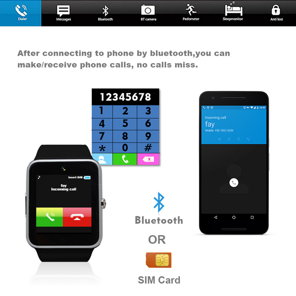 Smart Watch Sleep Monitor Pedometer 2G SIM Card Call Camera Bluetooth Touch Screen Men Women Smartwatch For Android IOS 4