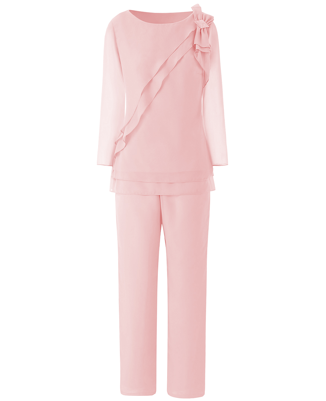 Solovedress Pink Bow-knot Mother Of The Groom Dress Pantsuits Womens Chiffon 2 Pieces Pant Set Suit Formal Wedding Tiered Top