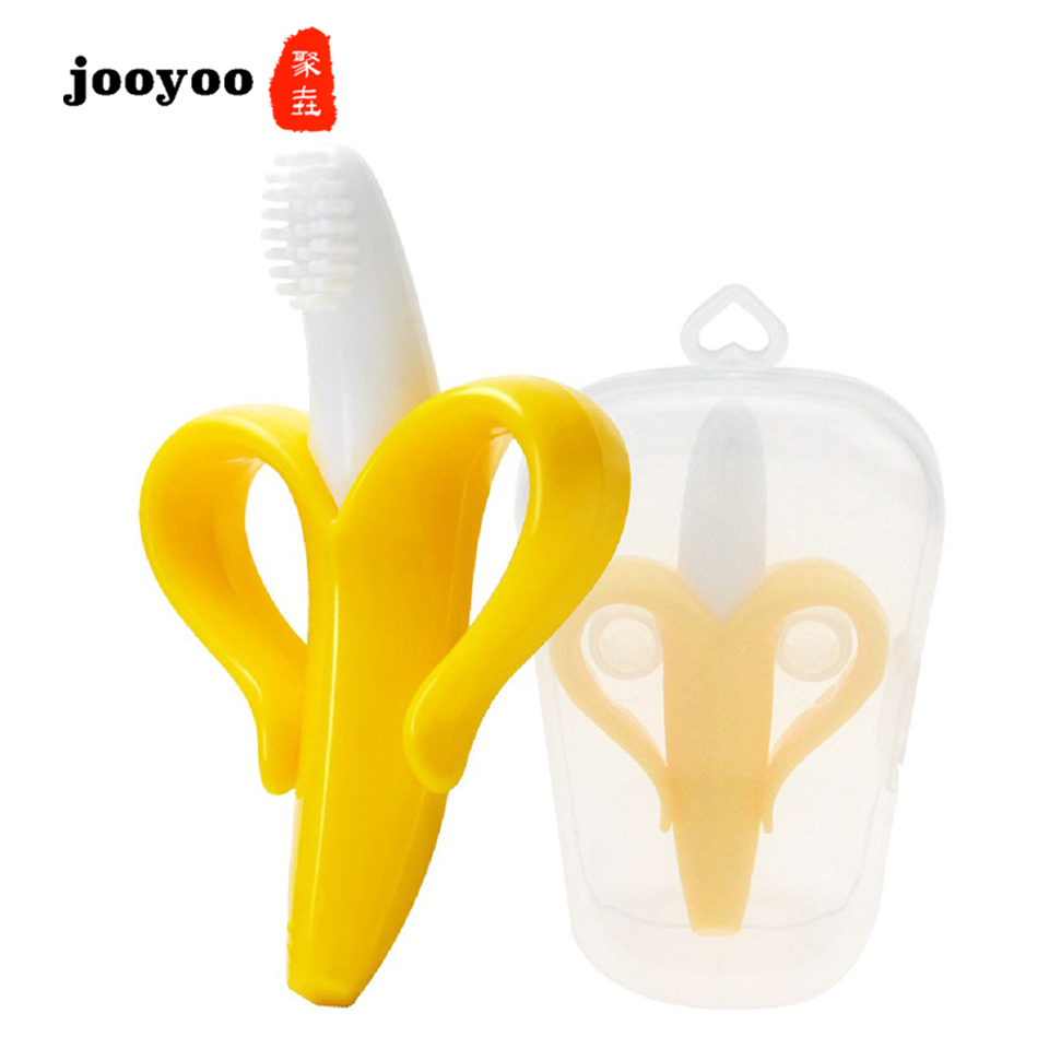 Baby Silicone Banana Training Toothbrush BPA Shape Safe Toddle Teether Chew Toys Teething Ring Gift For Infant Jooyoo