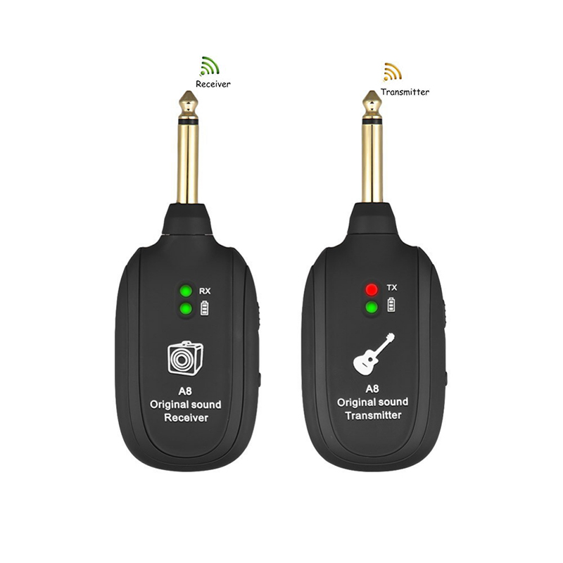 NEW Portable Guitar Wireless System Transmitter 4 Channels Audio  Receiver For Electric Guitar Bass Rechargeable Guitar Violin