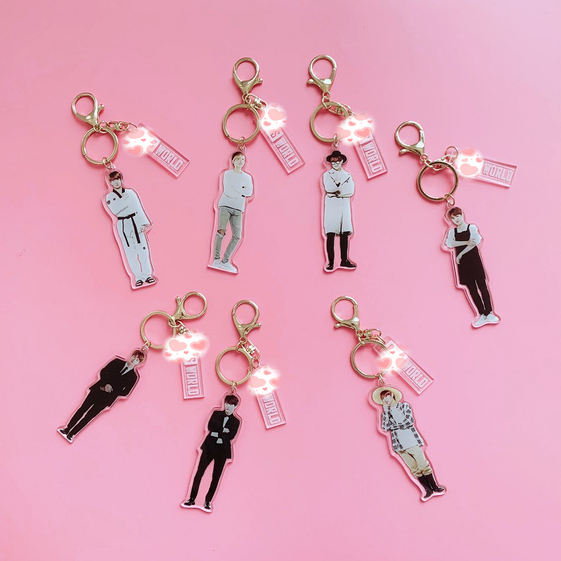 Image 1 - 7 pcs/lot KPOP Jin RM Jimin V suga jungkook jhope  world acrylic keychain keyring pendant toy giftAction & Toy Figures   -