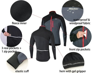 Image 3 - ARSUXEO Mens Cycling Jacket Set Winter Windproof Thermal Fleece  Bike Jersey Suits MTB Sportswear Bicycle Pants Clothing 17DD