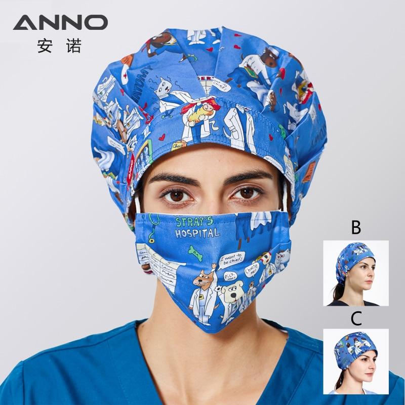 ANNO Medical Scrub Caps Hospital Doctor Nurse Hats Cartoon Surgical Scrub Hat For Women Men Clinic Working Head Wear