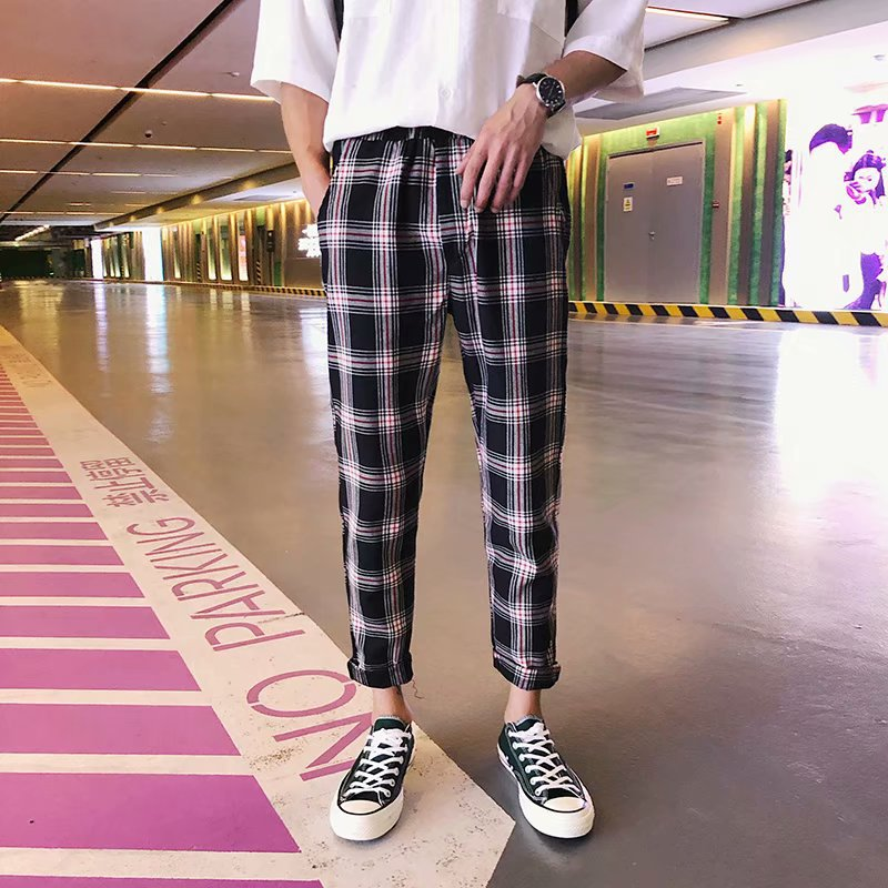 Hong Kong Style Plaid Capri Pants Men's Korean-style Trend INS Celebrity Style 9 Points Casual Pants Handsome Loose-Fit Hipster