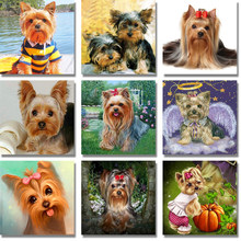 5D DIY Diamond Lukisan Yorkshire Terrier Lhasa Menjahit Cross Stitch Penuh Putaran Berlian Imitasi Diamond Mosaik Kit Dekorasi Dapur(China)