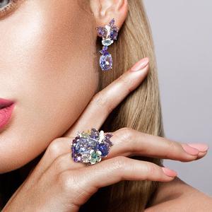 Image 5 - Женские серебряные серьги SANTUZZA, фиолетовые серьги подвески с бабочками из стерлингового серебра 925 пробы с кубическим цирконием, модные ювелирные изделия