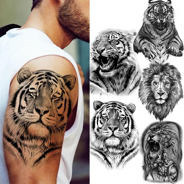 Big Black Tiger Tattoos Fake Men Wolf Leopard Tatoos Waterproof Large Beast Monster Body Arm Legs Tattoos Temporary Paper Cover 1
