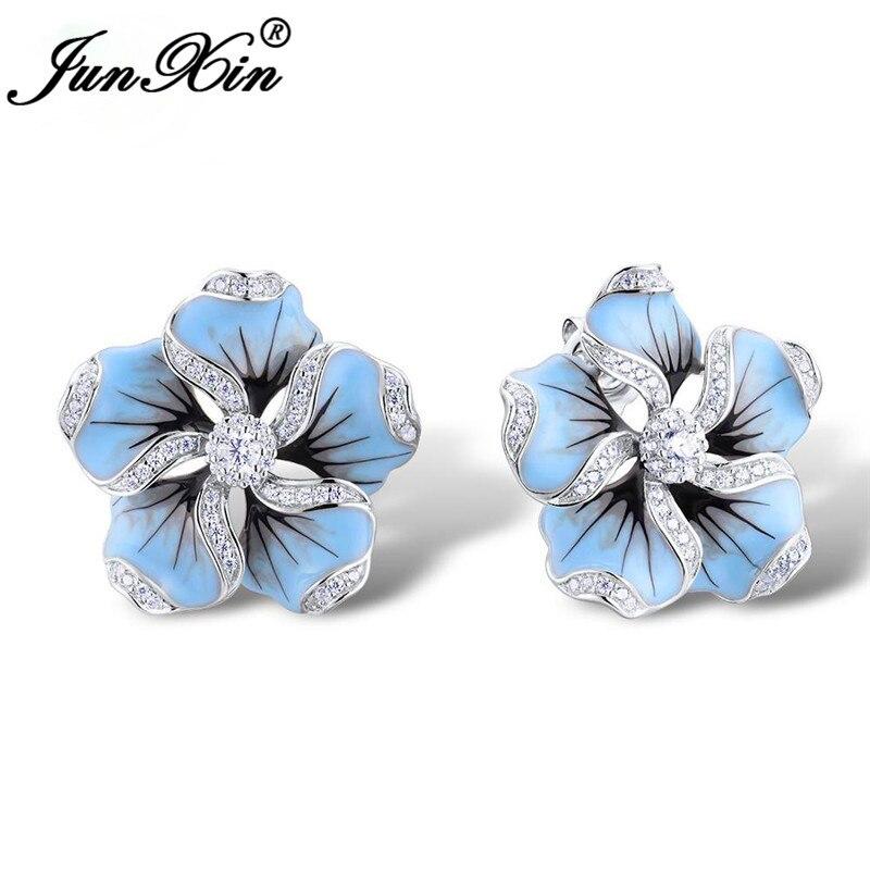 Girls Cute Blue Enamel Flower Stud Earrings For Women Plant Earring Silver Color White Crystal Double Earrings Wedding Gifts