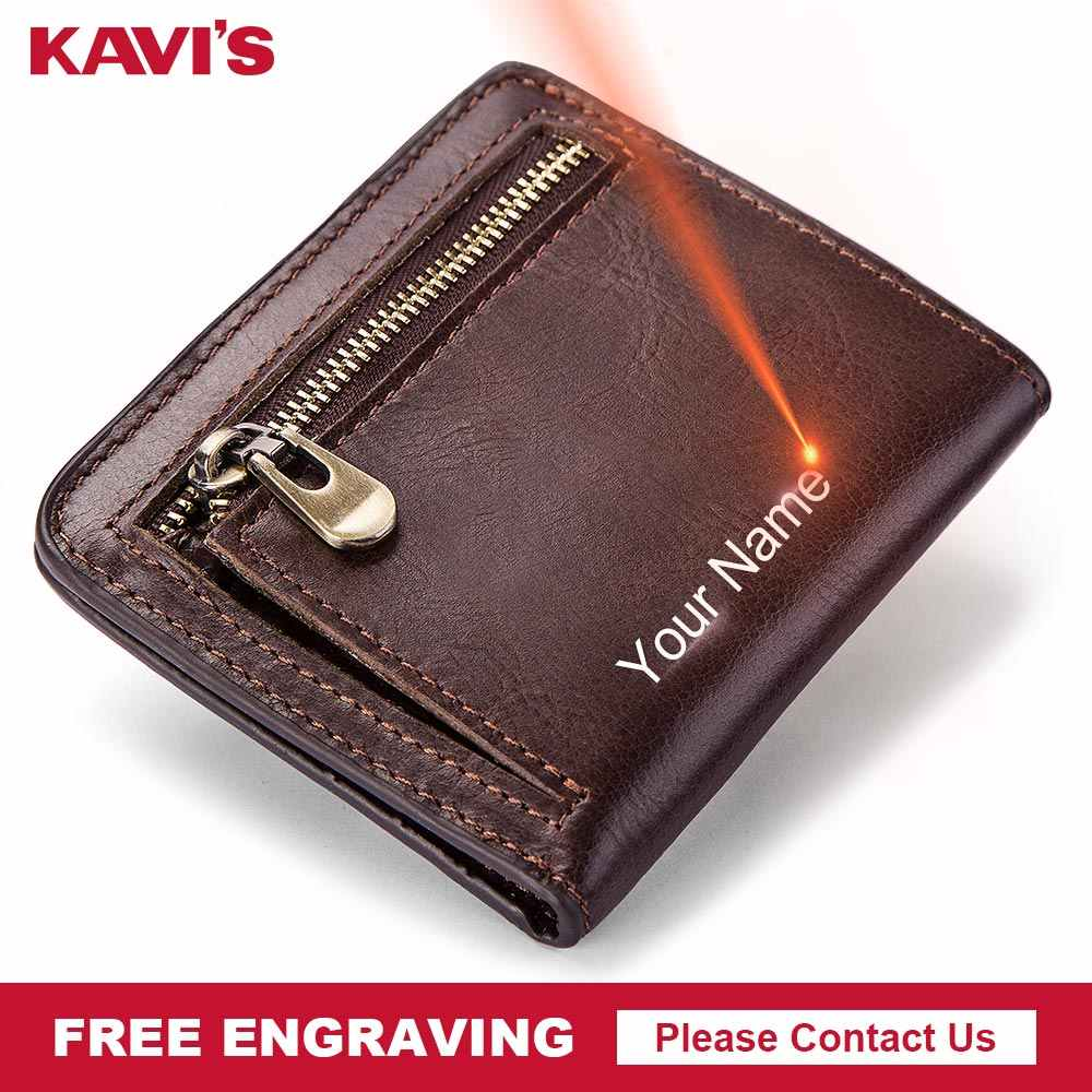KAVIS Genuine Leather Wallet Men Coin Purse Male Cuzdan PORTFOLIO Portomonee Man ID Card Holder Mini Free Name for Gift