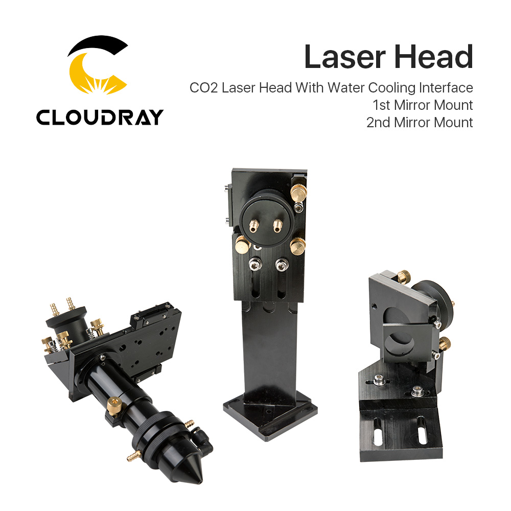Cloudray CO2 Laser Head Set With Water Cooling Interface Mirror Dia. 30 / Lens Dia. 25 FL 63.5&101.6 Integrative Mount Holder