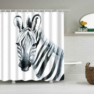 Image 5 - Dafield שקיעה מקלחת וילון אפריקה חיות פיל שחור צל אמבטיה מקלחת וילונות עמיד למים בד
