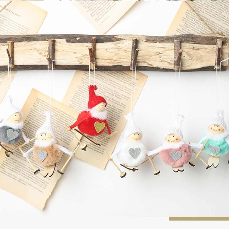 Рождественская Кукла-подвеска Рождественская елка висячие украшения лыжный плюшевый Ангел кулон Рождественский домашний декор