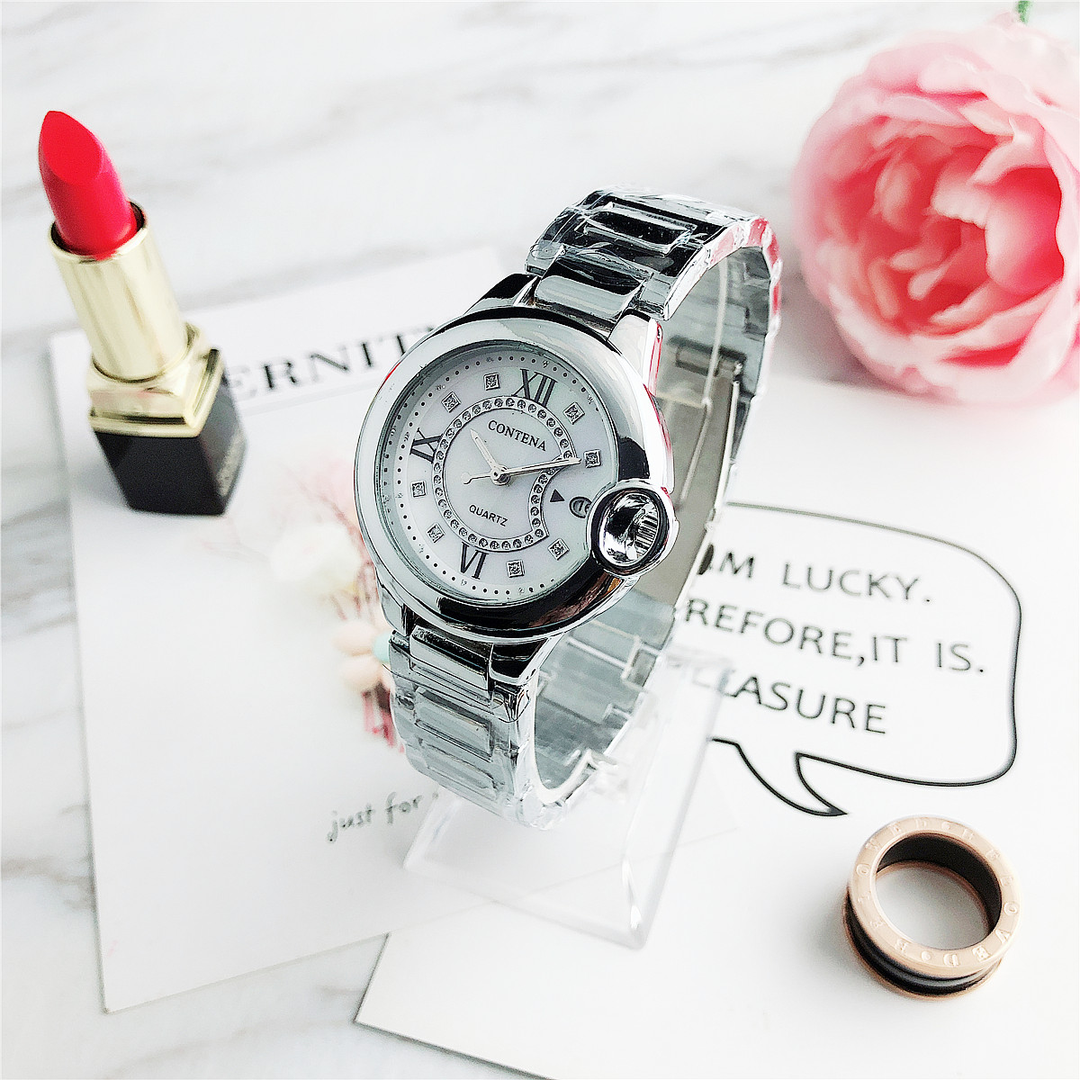 CONTENA New Arrival 2020 Fashion Women Watches Fashion Quartz Watch Lady Stainless Steel Clock Reloj Mujer