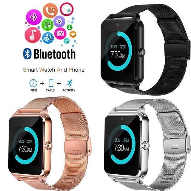 Bluetooth Smart Watch Z60 Wristwatches Support Camera Sim TF Card Men Women Waterproof Sports Smartwatch For Andriod IOS