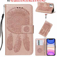 For iphone 11 Pro Xs Max Xr 8 7G 6s Plus Luxury Retro printing Campanula Flower PU leather case Wallet Flip Stand cover Coque