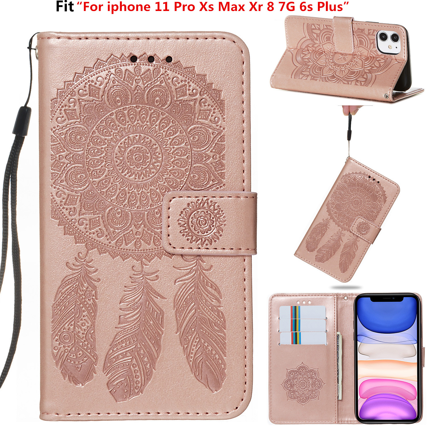 For iphone 11 Pro Xs Max Xr 8 7G 6s Plus Luxury Retro printing Campanula Flower PU leather case Wallet Flip Stand cover Coque image