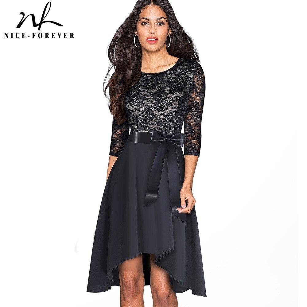 Nice-forever ретро элегантное кружевное лоскутное платье с поясом vestidos вечерние Для женщин расклешенное хлопковое тонкое осеннее платье A187