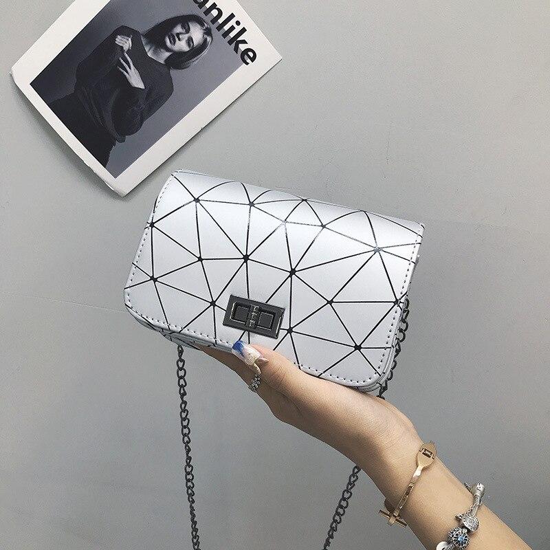 Lingge Women's Bag Single Shoulder Slant Span Small Bag Korean Fashion Splicing Chain Women's Small Square Bag