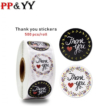 Tags hundred flowers competing beautiful thank you sticker seal label handmade custom sticker scrapbook gift White black image