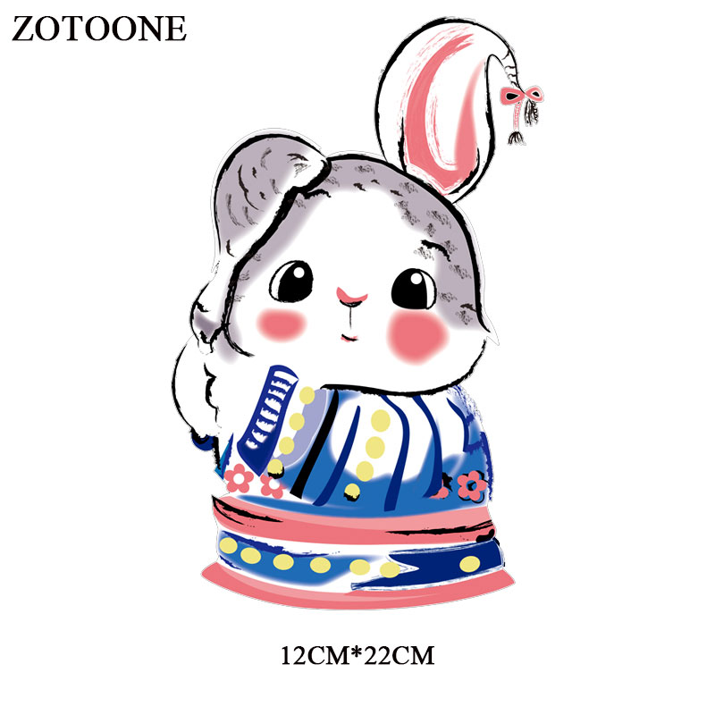 ZOTOONE Iron on Cute Rabbit Patches for Kids Transfers for Clothes T shirt Heat Transfer Stickers DIY Accessory Appliques E in Patches from Home Garden