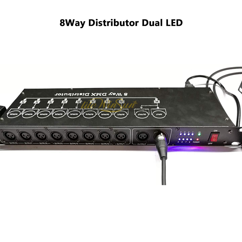 New 8 Way DMX Distributor Dual LEDs 8Way Line Splitter Isolated DMX Signal Booster Splitter 3Pin XLR Connector Output