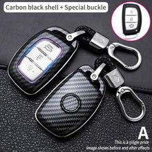من ألياف الكربون غطاء مفتاح السيارة الذكية لشركة هيونداي توكسون IX25 IX35 I20 I30 I40 hb20 سانتا في كريتا سولاريس اكسسوارات المفاتيح
