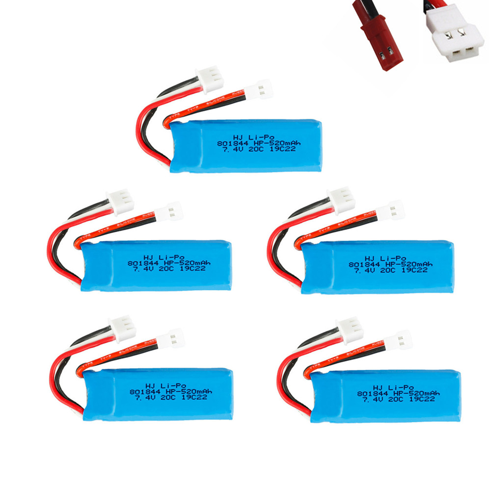 7.4V 520mAh 20C Lipo Battery for XKA600 RC Airplane Parts 2s 7.4v Battery For WLtoys K969 K979 K989 K999 P929 P939 A202 RC Car