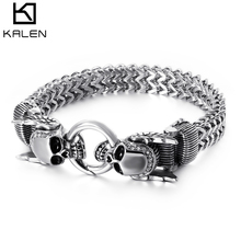 KALEN New Stainless Steel 23cm Chunky Mesh Chain Bracelet For Men Punk Skull Charm Gothic Halloween Jewelry Accessories