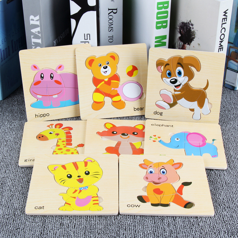 8pcs/lot Wooden Puzzle Kindergarten Children Baby Early Education Intelligence Boys Girls Building Toys Birthday Gifts For Kids