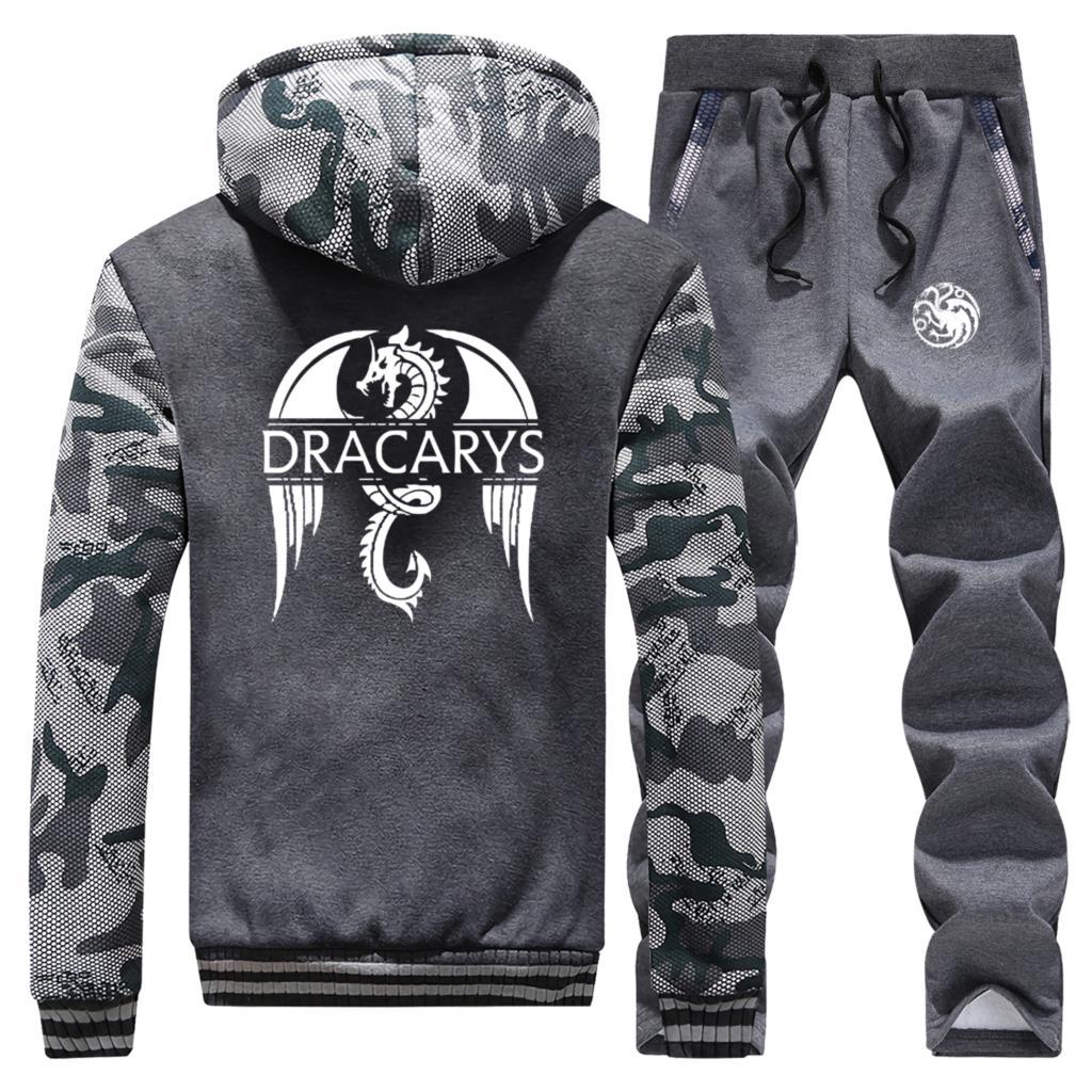 Hoodies Men Camouflage Dracarys Dragon Game Of Thrones 2019 Winter Vintage Print Coat Thick Suit Warm Jackets+Pants 2 Piece Set