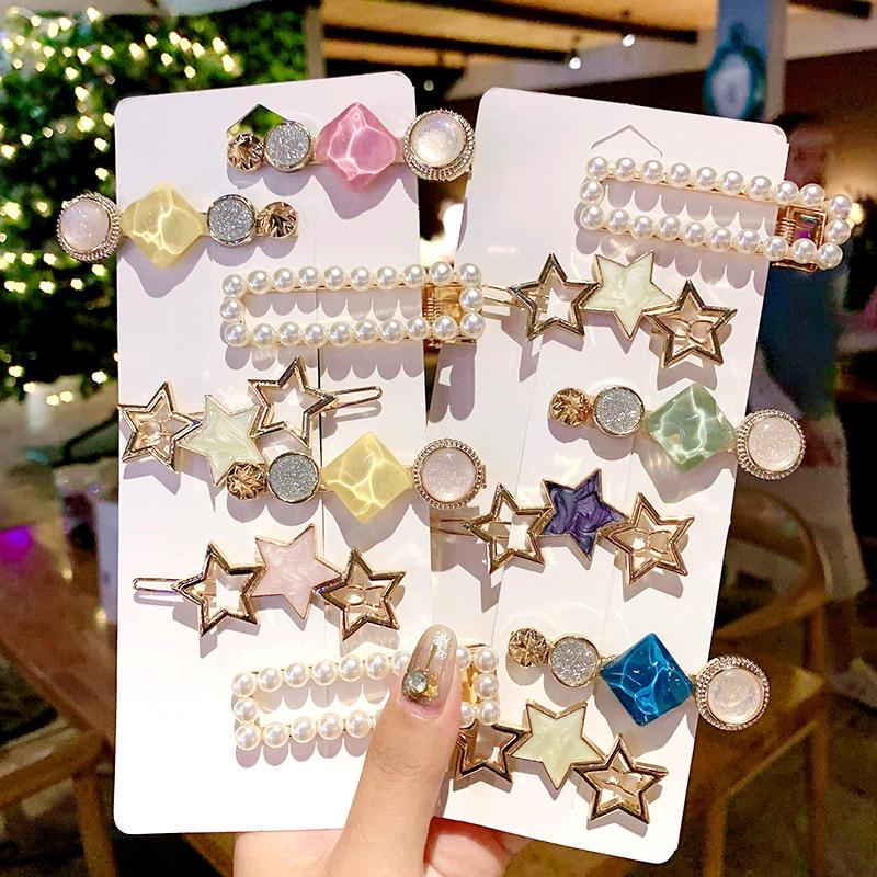 3Pcs/Set INS Fashion Geometric Pearls Hair Clips For Women Girls Sweet Star Hairpins Barrettes Set Hair Accessories