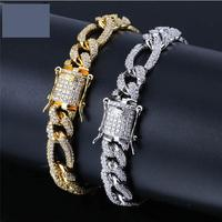 Hip Hop Bling Iced Out Clasps Full AAA Rhinestone Figaro Bracelet Gold Silver Copper Miami Cuban Bracelets For Men Jewelry