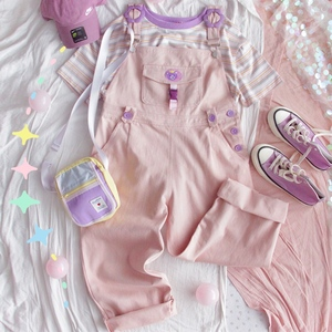 Image 4 - Mori Girl Cute Bear Women Jumpsuit Harajuku Kawaii Embroidery Teens Ankle length Overalls Pink Pants Vintage Loose Solid Romper