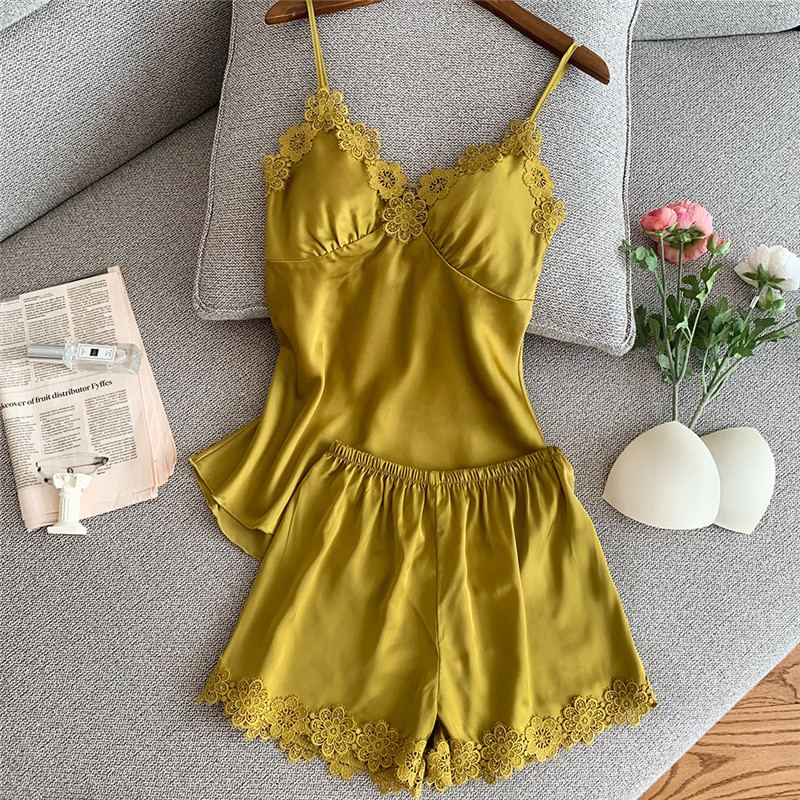JULY'S SONG 2 Piece Women Summer Pajamas Set Stain Silk Top And Shorts Sexy Lace Flower Breathable Summer Short Pants Home Wear