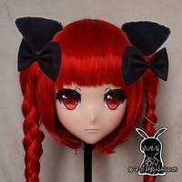 (Rabbit 44) Full Head Crossdress Girl BJD Doll Mask TouHou Project Cartoon Anime Realistic Silicone Kaenbyou Rin Cosplay Mask Kigurumi Crossdresser With Red Wig