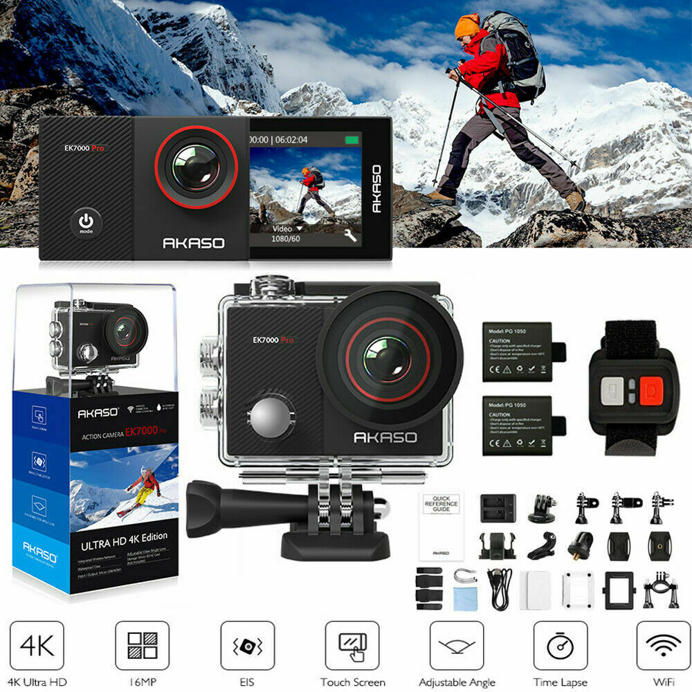 AKASO go EK7000 Pro 4K Action Camera deportiva Touch screen Sports Camera EIS Adjustable View Angle 40m underwater Camera Wifi image