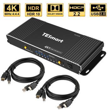 цена на HDMI KVM Switch 4 Port 4K Ultra HD 4x1 HDMI KVM Switcher with 2 Pcs 5ft KVM Cables Supports Mechanical and Multimedia KVM USB2.0