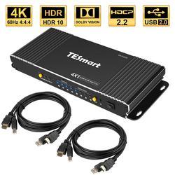 HDMI interruptor KVM 4 Port 4K Ultra HD 4x1 HDMI KVM conmutador con 2 uds 5ft Cables KVM apoya mecánica y Multimedia KVM USB2.0