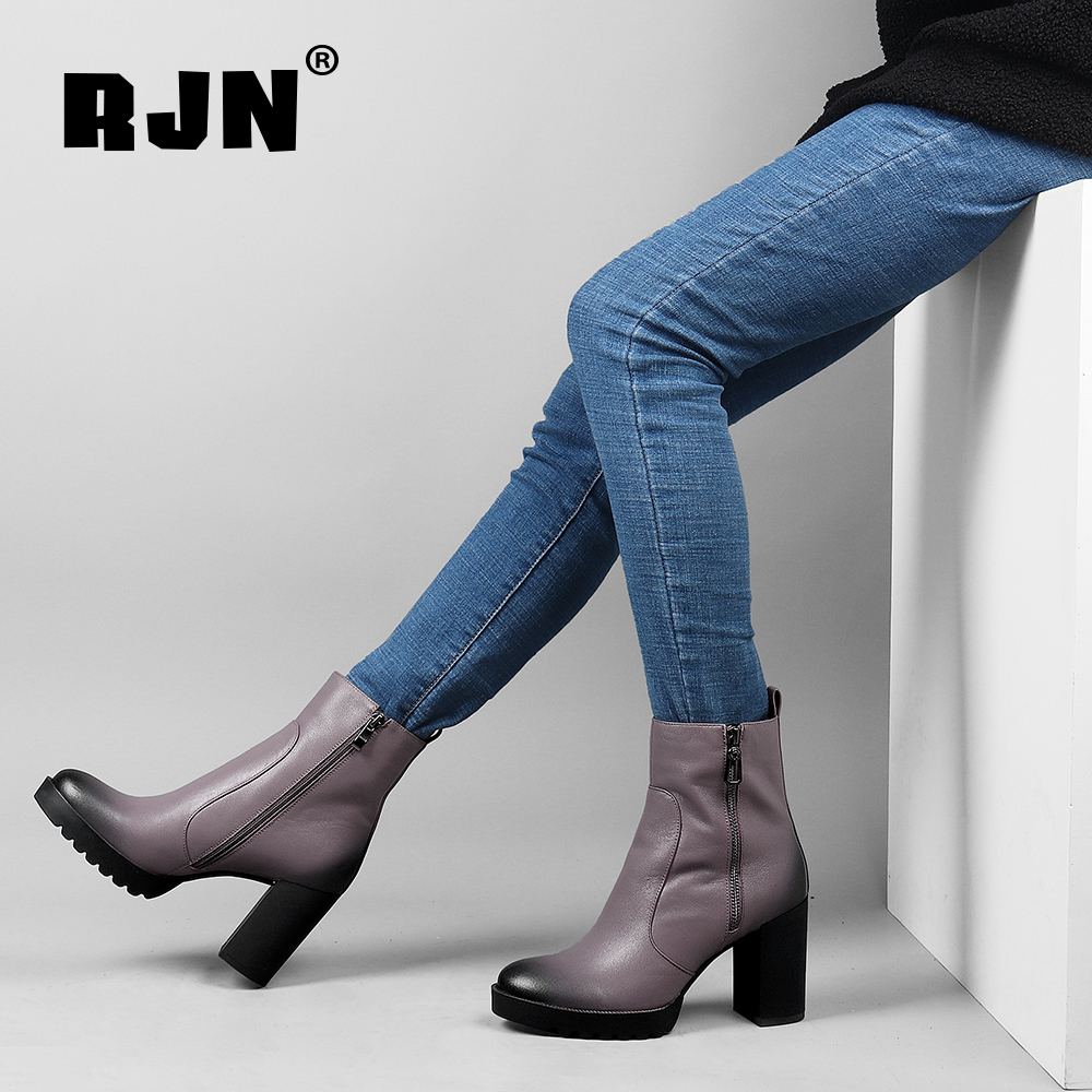 New RJN Stylish Ankle Boots High Quality Genuine Leather Classic Round Toe Super High Heel Zipper Shoes Women Boots For Winter R14