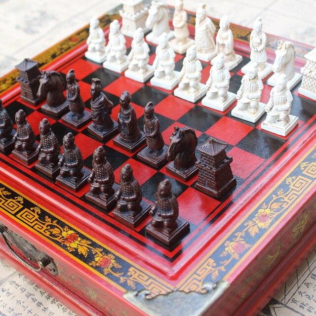 Pliant en bois International jeu d'échecs en terre cuite guerriers pièces d'échecs jeu d'échecs noël cadeau conseil emballage mot échecs 1
