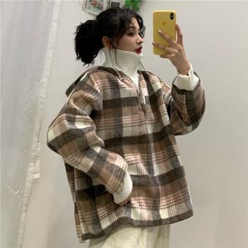 Marca HAYBLST, sudaderas con capucha para mujer, Otoño Invierno 2019, camiseta informal Kpop Kawaii holgada de talla grande 2XL, ropa de cuello alto y manga larga gruesa