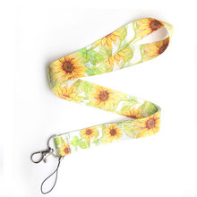 CA114 Girasole Cordino Al Collo Della Cinghia per ID key Card Del Cellulare Cinghie Badge Holder FAI DA TE Corda Appesa Archetto Da Collo Accessori(China)