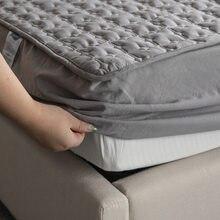 Algodão acolchoado colchão protetor macio anti-ácaro colchão topper hipoalergênico ar-permeável capa de cama lavável em relevo almofada