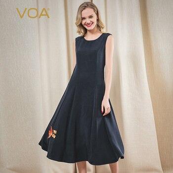 Женское шелковое платье с вышивкой Voa, элегантное облегающее платье темно синего цвета на молнии, вечерние платья, модель 2020
