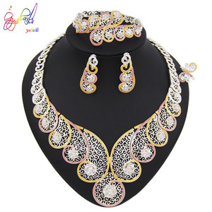 Image 4 - Yulaili High Quality Dubai Gold Jewelry Sets African Nigeria Wedding Bridal Crystal Necklace Earrings Bracelet Ring for Women